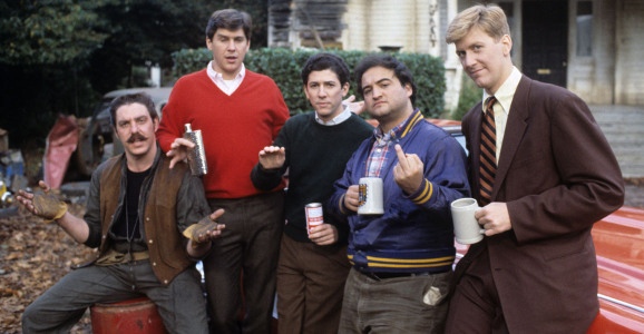NATIONAL LAMPOON'S ANIMAL HOUSE, (from left): Bruce McGill, Tim Matheson, Peter Riegert, John Belush